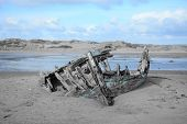 Colorsplash Photo Of The Shipwreck On The Beach At Crow Point In Devon poster