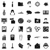 Bad War Icons Set. Simple Style Of 36 Bad War Icons For Web Isolated On White Background poster