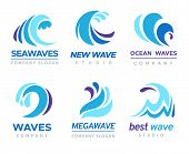Sea Wave Logo. Ocean Storm Tide Waves Wavy River Blue Water Splash Design Emblems Labels Vector Isol poster