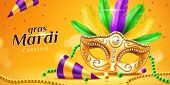 Mardi Gras Parade Banner With Masquerade Or Carnival Mask And Beads, Feather And Confetti, Cone Hat. poster