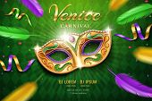 Poster With Masquerade Mask For Mardi Gras Festival. Venetian Carnival Face Cover Part With Feather  poster