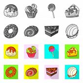 Vector Design Of Confectionery And Culinary Symbol. Set Of Confectionery And Product Stock Symbol Fo poster