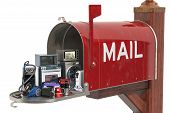 Appliance And Electronics Delivery Concept. Mailbox With Household And Kitchen Appliances, 3d Render poster