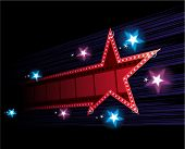 image of marquee  - Star shape neon for poster at cinema event - JPG