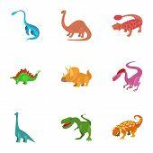 Dinosaur Icons Set. Cartoon Set Of 9 Dinosaur Icons For Web Isolated On White Background poster