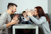 Family Quarrel, Poma And Dad Swear In The Background Of The Son Who Does Not Like It, The Child Crie poster