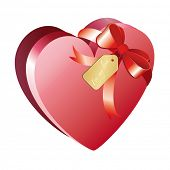 Heart shaped chocolate box with ribbon