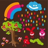 Cartoon illustration with cute creatures, mushroom and rainbow