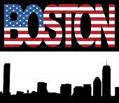 Boston Skyline With Flag Text