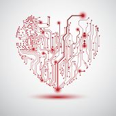 Valentine's background with circuit board on heart shape