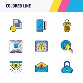 Vector Illustration Of 9 Protection Icons Colored Line. Editable Set Of Mobile Transaction, Protecte poster