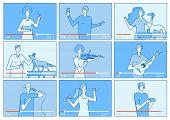Video Tutorials. People Bloggers On Video Screen. Social Media Marketing Vloggers Content Creators.  poster