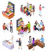 Isometric Restaurant. Waiters And People Eating Lunch At Tables In Cafe Bar Restaurant. 3d Vector Ch poster