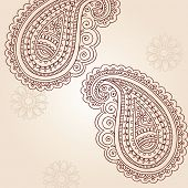 Henna Mehndi Paisley Doodles Abstract Vector Illustratie ontwerpelementen