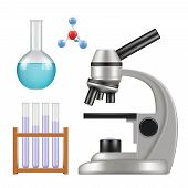 Science Equipment. Microscope Scientific Chemical Laboratory Items Glass Cylinder And Tubes Beakers  poster