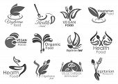Vegetarian Cuisine Healthy Food Eating Icons. Vector Symbols Of Vegan Leaf Salad, Fork And Spoon Cut poster