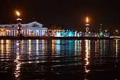 Winter View On Arrow Of Vasilevsky Island, St.-petersburg, Russia