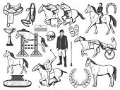 Equestrian Sport, Horse Polo Racing Equipment Accessory. Polo Jockey Rider Bat And Outfit, Horse Rac poster