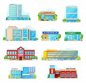 Houses And Buildings Vector Icons. Isolated Hospital, Flower Shop Or City Hall And Post Office Or Ph poster