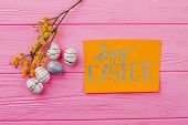 Yellow Pussy Willow And Easter Greeting Card. Easter Spring Composition With Eggs, Pussy Willow And  poster