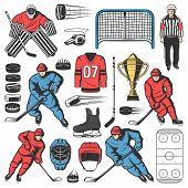 Ice Hockey Players Team, Outfit And Equipment Icons. Vector Forward, Defenseman And Goaltender Or Go poster