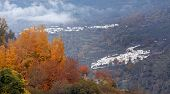 View of andalusian white towns in autumn season.