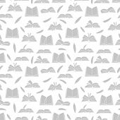 Sketchbooks, Books, Diary And Feathers Seamless Pattern. Book And Feather Allegory, Write Literary I poster