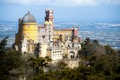 Pena palace, aerial view. Sintra, Portugal.