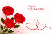 Valentine`s day background. Red roses and gift red bow. Vector illustration.