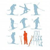 Set of 8 freestyle ski silhouettes