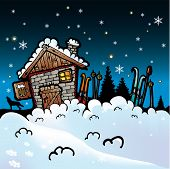 Winter cartoon vector background with snow and cottage