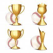 Baseball Game Award Set Vector. Baseball Ball, Golden Cup. Modern Baseball Tournament. Design For Sp poster