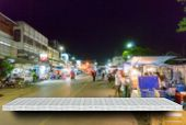 Empty White Night Market Street Display Table Counter Shelf Background Product Display Copy Space Fo poster