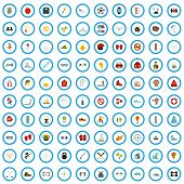 100 Activity Excellence Icons Set In Flat Style For Any Design Vector Illustration poster