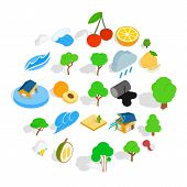 Pure Land Icons Set. Isometric Set Of 25 Pure Land Vector Icons For Web Isolated On White Background poster