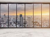 Empty Modern Interior Space With Skyscraper City View In Sunset, Empty Business Office Interior poster