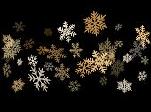 Snow Flakes Falling Macro Vector Illustration, Christmas Snowflakes Confetti Falling Scatter Banner. poster