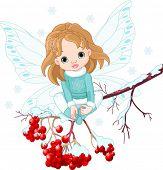 Winter Baby Fairy sitting on Ash Tree Branch