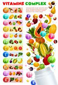 Vitamins And Minerals Complex, Vegetarian Food. Vector Natural Fruits And Berries Organized By Conte poster