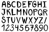 Hand Drawn Paint Brush Font. Handwritten Alphabet In Brush Stroke Style. Modern Lettering In Vector. poster