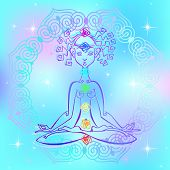 Girl In The Lotus Position And Chakras Of Man. Reiki Energy. Vector poster