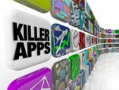 pic of smart grid  - The words Killer Apps on an app tile in a wall of applications and software you can download into your smart phone - JPG