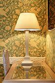 interior luxury apartment, detail room, table lamp on desk