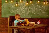 Food Menu. Little Boy Feed Teddy Bear, Food Menu. Child Enjoy Food Menu With Toy Friend In Classroom poster