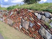 Brick and stone retaining wall