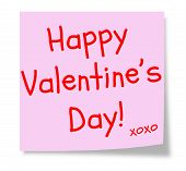 image of xoxo  - A pink sticky note with the words Happy Valentine - JPG