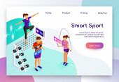 Smart Sport Isometric Vector Web Banner. People Measuring Heart Pulse With Digital Device While Doin poster