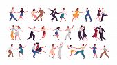 Bundle Of Pairs Of Dancers Isolated On White Background. Set Of Men And Women Dancing Lindy Hop Or S poster