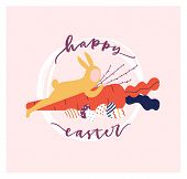 Easter Postcard Template With Holiday Wish Handwritten With Calligraphic Script And Man Dressed In R poster