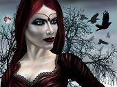 pic of evil queen  - Illustration of a gothic vampire on a misty night - JPG